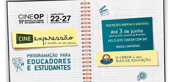 Inscrições abertas para as sessões cine-escola da 11ª CineOP – Mostra de Cinema de Ouro Preto